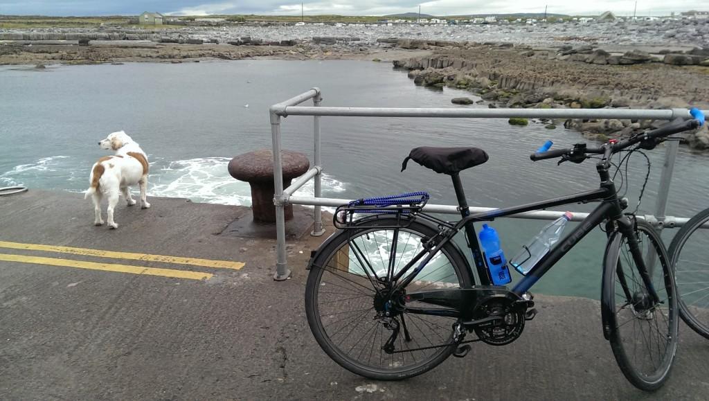 Hafen Doolin, hinter meinem Rad die Treppe hinunter zum Boot...