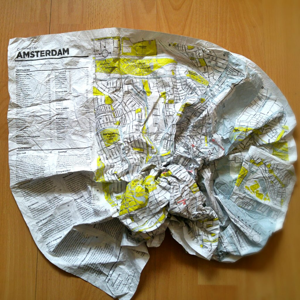 Crumpled city map Amsterdam crumpled