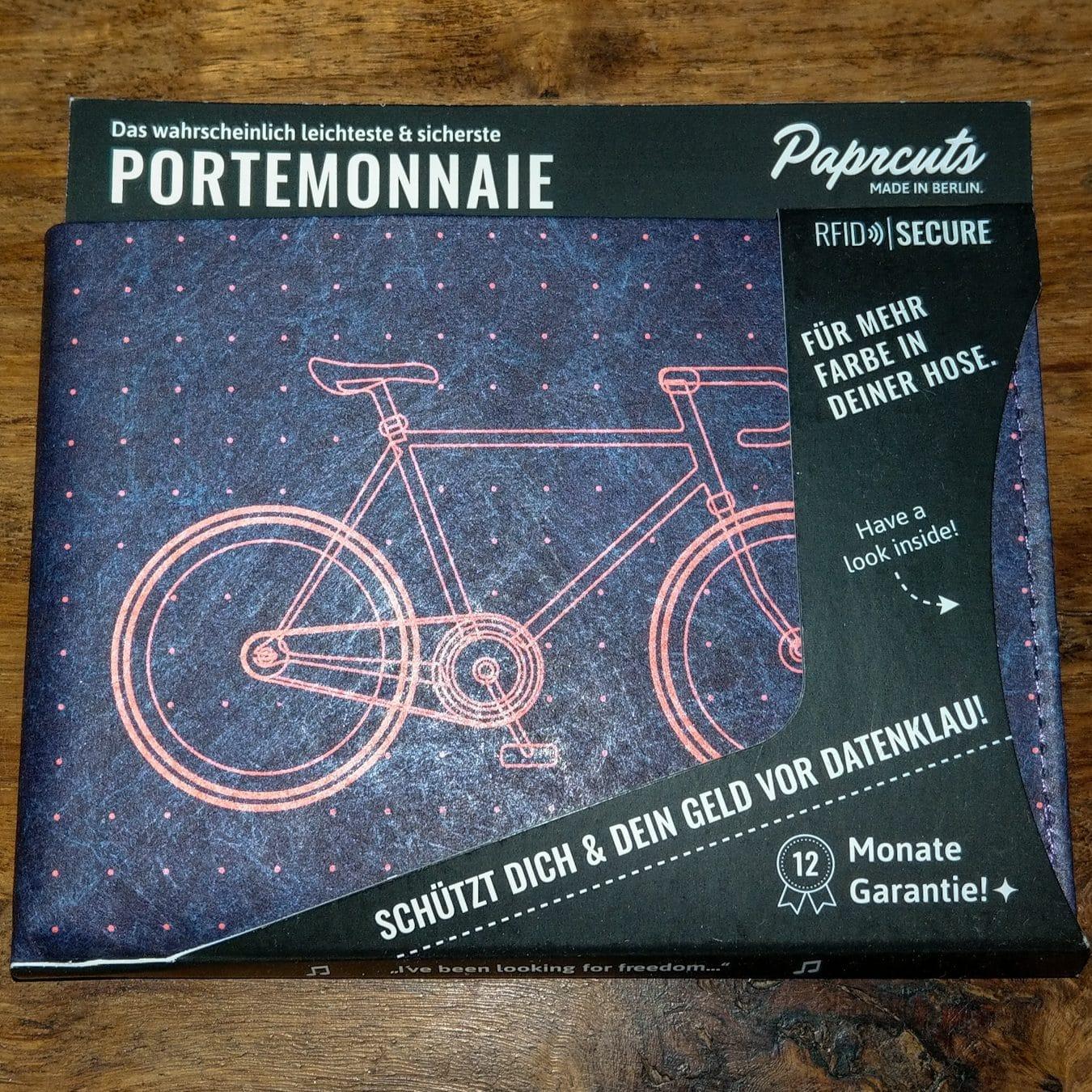 papercuts portemonnaie mit Fahrrad