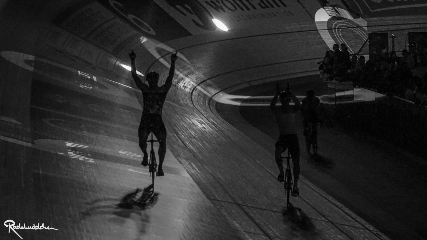 Six Day Berlin cyclist black and white