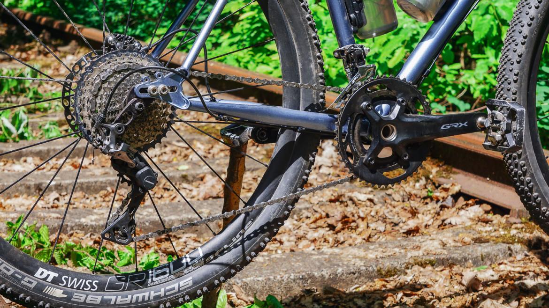 Schaltwerk und Reifen am Fahrrad