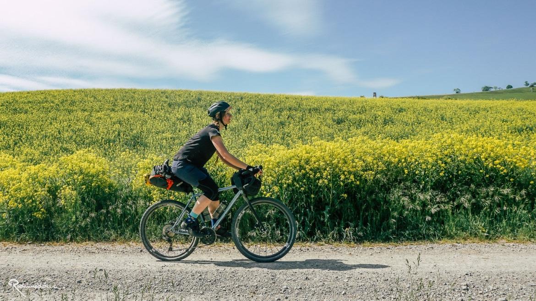 Radfahrerin vor Rapsfeld
