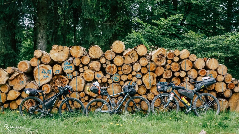 drei Fahrräder vor Holzstapel