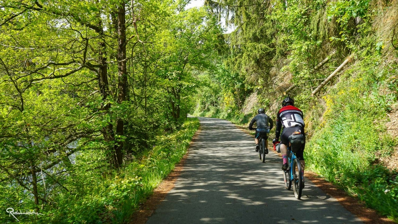 Weg im Grünen mit Radfahrenden