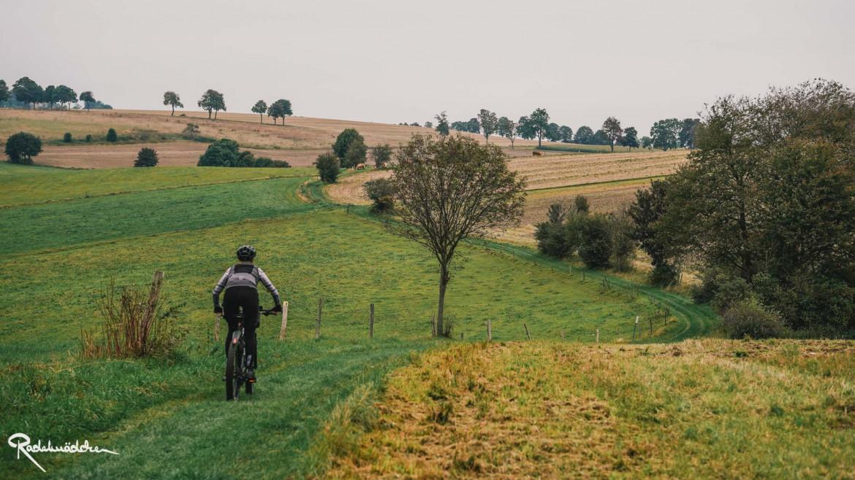 Frau auf dem Fahrrad in der Natur